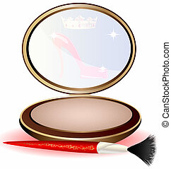 powder - a large round powder and red cosmetic brush