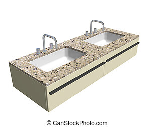 Modern washroom sink set with granite counter and chrome...