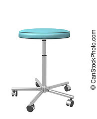 Adjustable metal mobile medical stool, 3d illustration