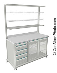 Mobile metal medical supply cabinet with solid and wire mesh shelves, 3d illustration, isolated against a white background. With refrigerated compartment