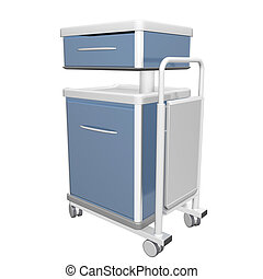 Blue and white stainless metal medical supply cabinet placed on a trolley, 3d illustration, isolated against a white background