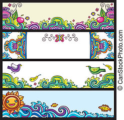 Floral banners floral series - Floral decorative banners...