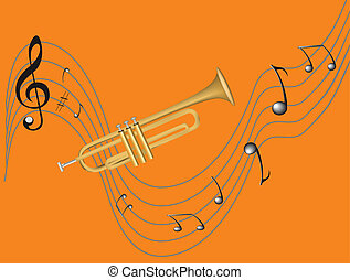 Trumpet and notes - Style trumpet and treble clef, sharp,...