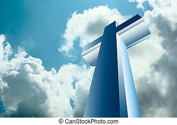 cross over heaven - Christian cross over blue heaven