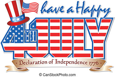 Happy 4th JULY - Have a Happy 4th July editable vector...