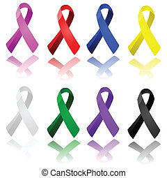 Awareness ribbons - Set of glossy ribbons in different...