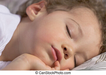 Face of a sleeping toddler - Little boy fell asleep on the...