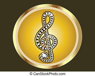 Gold with diamonds Musical note