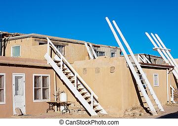 Acoma Pueblo - Traditional white ladders in Acoma Pueblo, NM