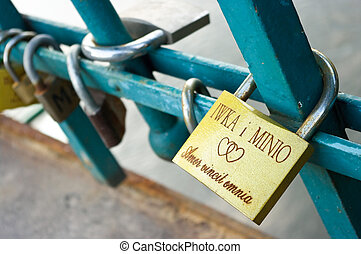 Padlocks on Love Bridge in Wroclaw, Poland