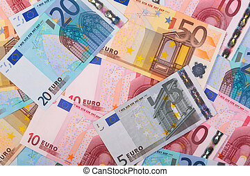 Euros background photo - Photo of overlapping Euro banknotes...