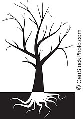 tree with root - illustration of tree with root under ground...
