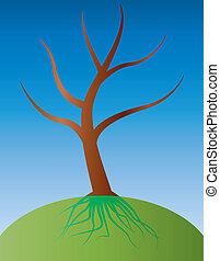 tree with root - illustration of tree with root under ground