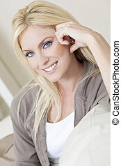 Portrait of Beautiful Young Blond Woman With Blue Eyes -...