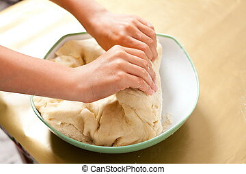 Little boy hands kneading - Hands of a little boy kneading...
