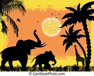 African safari theme with elephants and giraffe, against a...
