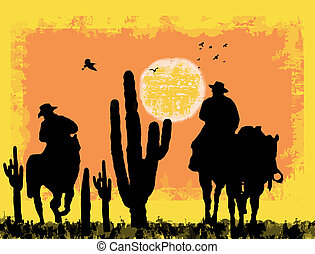 Cowboys on desert - Cowboys silhouette on desert, against a...