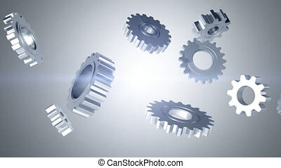 Silver Gears on White - Silver gears interlocking then...