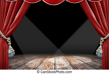 Red curtain and spotlight - Red curtain stage and spotlight