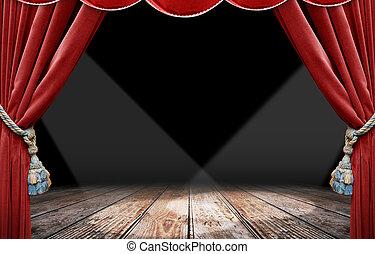 rouges, rideau, projecteur
