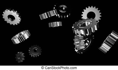 Silver Gears on Black - Silver gears interlocking then...