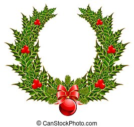 christmas wreath with a red bow