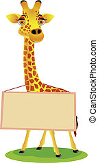 Giraffe cartoon and blank sign - Vector illustration of...