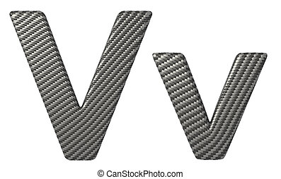 Carbon fiber font V lowercase and capital letters isolated...