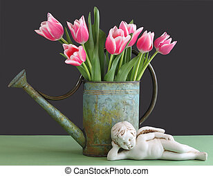Tulips in Watering Can with Cherub - Pink and white tulips...