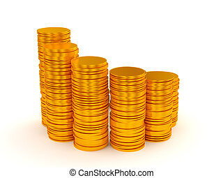 Growth: coins stacks semicircle shape