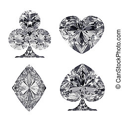 Diamond shaped Card Suits isolated over white