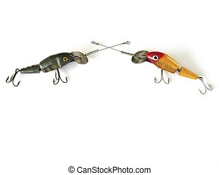 Two Vintage Lures Isolated - Jointed fishing lures from the...