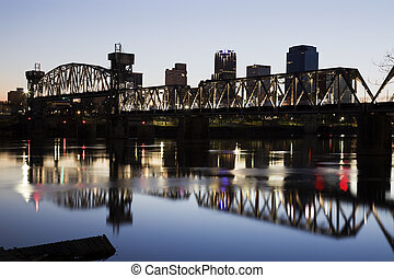 Sunset in Little Rock, Arkansas - Sunset in downtown of...