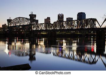 Sunset in Little Rock, Arkansas - Sunset in downtown of...