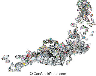 Large diamonds or gems flow isolated over background
