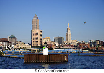 Little plane flying over Cleveland, Ohio
