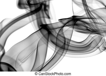 Black Abstract fume patterns on white