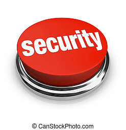 Security Words on Round Red Button - A red button with the...