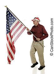 Senior Flag-Bearer - A happy senior patriot wearing a stars...