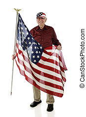 Senior Patriot - A senior man wearing a stars and stripes...