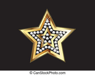 Gold Star with Diamonds  - Gold Star with Diamonds