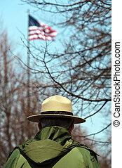 nós, parque, guarda-florestal, americano, bandeira
