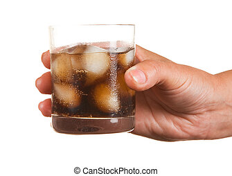 Carbonated water with ice in a glass