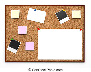 Corkboard with paper sticker Computer generated image