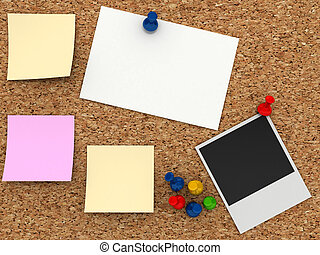 Corkboard with paper sticker. Computer generated image