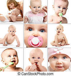Infancy - Collage of adorable babies over white background