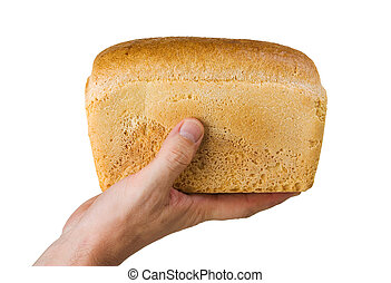 loaf of bread in his hand isolated on white background
