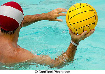 Man is playing water polo - A man is playing water polo