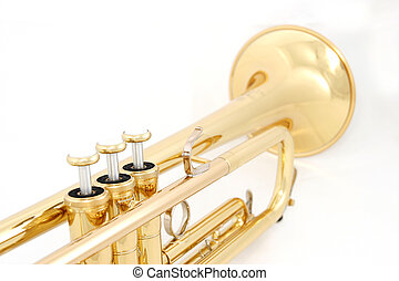 golden trumpet colseup - gold lacquer trumpet closeup on...