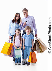 Shopaholic - Families with credit cards and shopping on a...